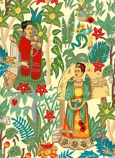 Frida Fabric is a textile homage to the prominent Mexican painter Frida Kahlo. Design by Alexander Henry Frida E Diego, Frida Art, Art And Illustration, Illustrations, Mexican Artists, Mexican Folk Art, Famous Self Portraits, Frida Kahlo Fabric, Retro Fabric