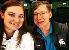 Hanging with my dad at the Michigan State basketball game in East Lansing (Erin…