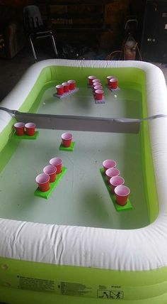 Battleship pong is a fun and interactive drinking game for you and your friends. You though regular beer pong was hard, now the cups are moving targets!