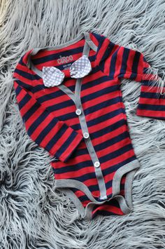 blue and red striped preppy super cute Cardigan baby boy onesie ... so bright and fun little hipster baby