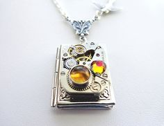Once Upon A Time Steampunk Book Locket Necklace by Treasurebay, $52.00