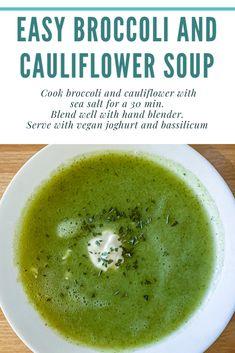 My Recipes, Cooking Recipes, Cauliflower Soup, Broccoli, Plant Based, Tasty, Vegan, Fruit, Food