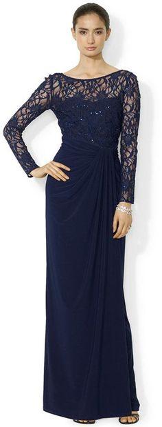 Image result for Lauren Ralph Lauren Long-Sleeve Sequined Gown