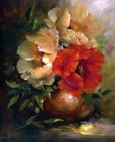 Another floral painting by Gary Jenkins. Arte Floral, Gary Jenkins, Still Life Flowers, Still Life Art, Beautiful Paintings, Art Oil, Painting Inspiration, Flower Art, Watercolor Paintings