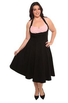 #Torrid Cover Girl black and pink pleated halter dress, $120.50