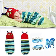 cool   E'Plaza® Newborn Baby Girl Boy Infant Caterpillar Design Crochet Knit Crochet Clothes Costume Photo Prop Outfit Tutu Dress + 1 Pair of Baby Blooms Flowers Pearl Rhinestone Barefoot Sock Sandals Shoes + 1 Pair of Wrist Bell Ankle Bell Jingle Bell Strap Bracelet Kids Early Music Development (caterpillar) #fashion #beauty #lifestyle #vintage #beverage #vintagedress #hair #nails