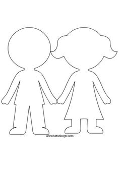 boy and girl paper doll pattern to use for paparazzi demo Girls Holding Hands, All About Me Preschool, Quiet Book Templates, Sunday School Crafts, Coloring Pages For Kids, Pre School, Felt Crafts, Preschool Activities, Paper Dolls