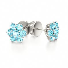 Blue Zircon Romantic Stud Earrings MAGIC FLOWER at Colors of Eden #earrings