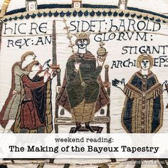 Harold II Godwinson, last Anglo-Saxon King of England seen here as portrayed and embroidered in the Bayeux Tapestry which depicts the events leading up to the Norman conquest of England. Anglo Saxon Kings, Anglo Saxon History, British History, British Council, Art History, Bayeux Tapestry, Medieval Tapestry, Medieval Art, Medieval Times