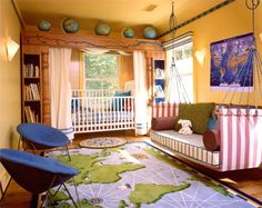 Bedroom design, Kids Bedroom Amazing Nursery Room In Orange With Beautiful World Map Carpet And Cool Comfortable Hanging Chair Lovely Bedroo...