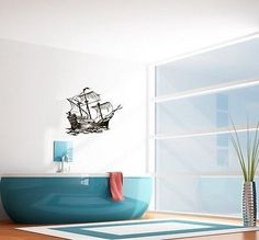 WALL VINYL STICKER DECALS ART MURAL SAILING SHIP CUTE DESIGN BATHROOM SV1975