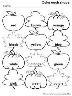 free fall color word sheet morning work - Free Color Word Worksheets