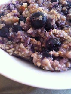 Steel cut oats, quinoa, almond milk, berries, etc.