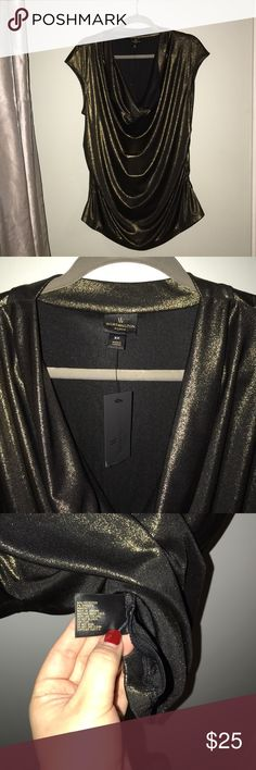 """Cowl Neck Top Black/Gold Foil. Approximately 27"""" length. Cowl neck, draped front, straight back. Shimmery, stretchy, golden, perfect for NYE. Worthington Tops Blouses"""
