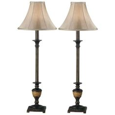 Set of 2 Emily Crackle Bronze Buffet Lamps -