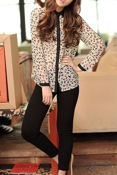Swallows Printing Lapel Blouse with Long Sleeves