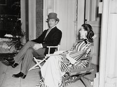 Clark Gable and Vivien Leigh on set of Gone with the Wind in 1939