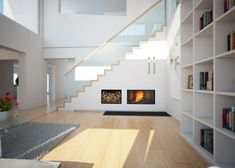 Fireplace under stairs