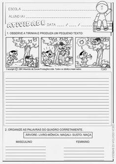 A turma da mônica agora vem com produção de texto para o ensino fundamental, todas as tirinhas de produção de texto estão prontas para impri...