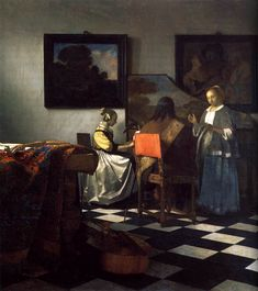 Johannes Vermeer The Concert, , Isabella Stewart Gardner Museum, Boston. Read more about the symbolism and interpretation of The Concert by Johannes Vermeer. Johannes Vermeer, Rembrandt, Van Gogh Museum, Art Museum, Lost Art, Vermeer Paintings, Vermeer Artwork, Oil Paintings, Art History