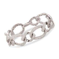 """Ross-Simons - 8.00 ct. t.w. CZ Flat Link Bracelet in Sterling Silver. 7"""" - #814970"""