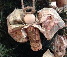 Vintage Paper & Wine Cork Angel Ornament by buzzhaus on Etsy