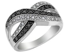 White and Black Diamond Infinity Ring 1/3 Carat (ctw) in Sterling Silver