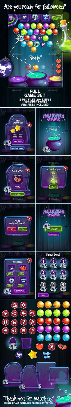 Halloween Bubble Shooter Full Game Set — Photoshop PSD #medicine #poison • Available here → https://graphicriver.net/item/halloween-bubble-shooter-full-game-set/17919612?ref=pxcr
