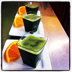 wheatgrass juice shots served with a pallet cleanser