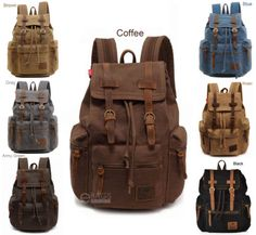Travel-Canvas-Leather-Backpack-Sport-Rucksack-Camping-School-Satchel-Hiking-Bag