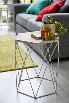 Buy Hexagon Side Table from the Next UK online shop Painted Side Tables, Metal Side Table, Square Side Table, Round Side Table, Hexagon Sides, 3 Drawer Bedside Table, Bedside Tables, Curtain Poles, Modern Table