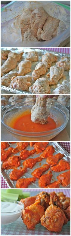 Baked Chicken Wings.. Ingredients: 20 chicken wings ,In a bag mix 1/2 tsp salt,1/2 tsp pepper,1 Tbsp hot sauce mix w/ wings. Then in seperate bag mix 1 Tbsp vegetable oil, 3/4 cup flour,1/2 tsp cayenne pepper,1/2 tsp garlic powder and mix in wings . Refrigerate wings 1hr. Then mix1/2 cup (1 stick) melted butter and 3/4 hot sauce n dip wings. Bake at 400 for about 30 minutes then flip n bake 30 min more.