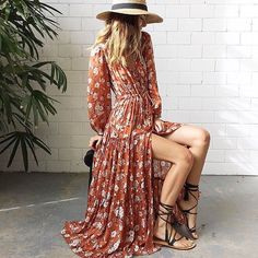 The Gypsy Dancer Gown in Maple is elegantly simple with a full tiered skirt in floral ochre tones. Slightly sheer but lined where it counts. Such a perfect spring party dress, day or night ~ pair with tan sandals or heels. size & fit Model is 177cm and is wearing a size S Bust -XS: 85cm | S: 90cm | M: 95cm | L: 100cm | XL: 105cm Waist - XS: 77cm | S: 82cm | M: 87cm | L: 92cm | XL: 97cm Centre Front Length - XS: 130cm | S: 131.5cm | M: 133cm | L: 134.5cm | XL: 136cm Centre Back Length - X...