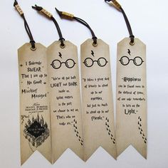 Handmade Harry Potter Bookmarks Set of 4 quotes Bookmarks