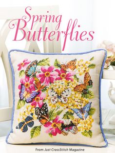 Spring Butterflies from the Mar/Apr 2015 issue of Just CrossStitch Magazine. Order a digital copy here: https://www.anniescatalog.com/detail.html?code=AM53358