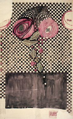 'Roses on a checkered ground textile design by Charles Rennie Mackintosh, produced in 1914'