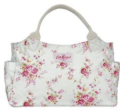 Washed Roses Day Bag from Cath Kidson. Freakin' love it, and it's made from oilcloth so it is a white purse that you can actually keep clean!