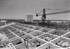 Roma 26/06/1941 Il tetto di un palazzo in costruzione, il palazzo della civiltà e del lavoro, campo lunghissimo
