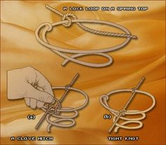 Upholstery hitch knot for springs