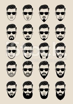 hipster faces with beard, user, avatar, vector icon set royalty-free stock vector art