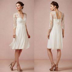 Hochzeitskleider - V-Ausschnitt Lace Short Brautkleid mit Halbarm - ein Designerstück von diydressonline bei DaWanda