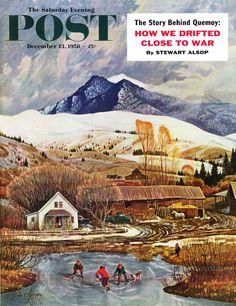 """Ice Hockey on Mountain Pond"" (John Clymer, December 13, 1958)"