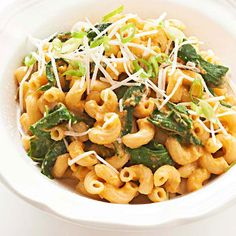 Macaroni Alfredo with Pumpkin and Kale