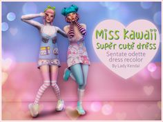 I made those recolors just because… Well, who doesn't need more cute kawaii stuff for their sims? ❤ I hope you like it ❤ Fell free to tag me if you use it, I love to see your pictures. Sims 4 Characters, Sims 4 Mm Cc, Sims 4 Clothing, Sims 4 Cc Finds, Sims Mods, The Sims4, Super Cute Dresses, Sims 4 Custom Content, More Cute