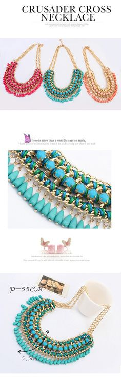 Hipster Purplish Red Metal Chain Weaving Drill Beads Tassel Design Alloy Fashion Necklaces,Fashion Necklaces