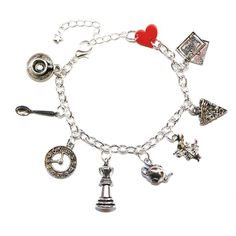Sour Cherry Alice In Wonderland Charm Bracelet ($25) ❤ liked on Polyvore featuring jewelry, bracelets, charm bracelet and cherry jewelry