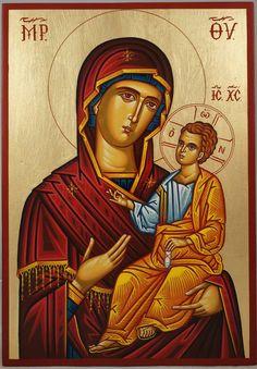 Most Holy Theotokos Hand-Painted Byzantine Icon