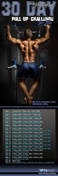 The 30-Day Pull Up Challenge for Men - Get Ripped... Get Hot Workout! #fitnessexercises