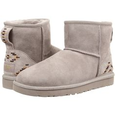 UGG Classic Mini Rustic Weave Women's Boots, Gray ($116) ❤ liked on Polyvore featuring shoes, boots and grey