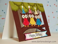 Watch as I create this card using the Stampin' Up! two step owl punch. For more detail and a complete list of supplies, see my card-making video site: http:/. Cricut Cards, Stampin Up Cards, Owl Punch Cards, Owl Card, Window Cards, Up Book, Kids Birthday Cards, Kids Cards, Baby Cards